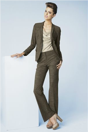 Brown textured suit jacket