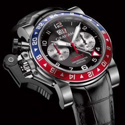Graham is the model Chronofighter Oversize GMT Blue & Red
